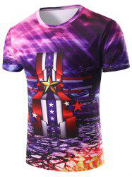 3D Stripe and Medal Printed Round Neck Short Sleeve T-Shirt For Men - COLORMIX 2XL