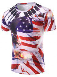 3D Flag Printed Round Neck Short Sleeve T-Shirt For Men - COLORMIX 2XL
