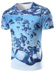 3D Icy Printed Round Neck Short Sleeve T-Shirt For Men - COLORMIX