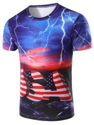 3D StripePrinted Round Neck Short Sleeve T-Shirt For Men
