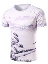 3D Ethnic Style Printed Round Neck Short Sleeve T-Shirt For Men - COLORMIX XL