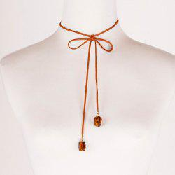 Vintage Faux Leather Rope Bowknot Necklace -