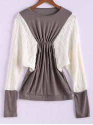 Plus Size Color Matching Batwing Long Sleeve Women's Sweater Dresses -