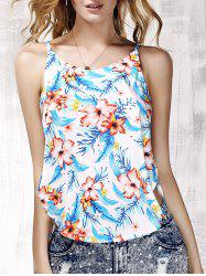 Floral Print Strappy Side Slit Tank Top
