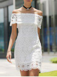 Off The Shoulder Short Wedding Lace Dress - WHITE