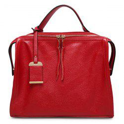 Trendy Pendant and PU Leather Design Tote Bag For Women - RED