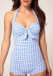 Cute Halter Plaid Printed One-Piece Boy Leg Swimwear For Women -