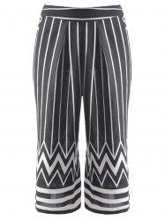 Fashionable Striped Zig Zag Cropped Pants For Women - BLACK L