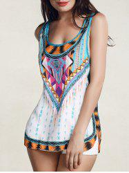 Fashionable Colorful Printed Scoop Neck Tank Top For Women