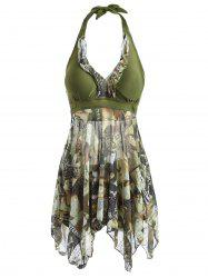Fashionable Women's Halter Figure Print Asymmetrical Two Piece Swimsuit