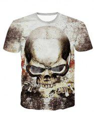 3D Personality Round Neck Skulls Printed Short Sleeve T-Shirt For Men -