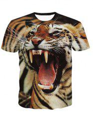 3D Round Neck Fierce Tiger Print Short Sleeve T-Shirt For Men - COLORMIX