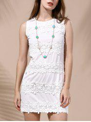 Endearing Sleeveless Lace Spliced White Dress For Women - WHITE