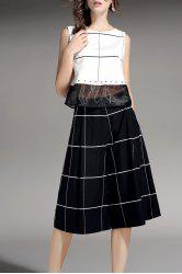 Plaid Top and Wide Leg Pants -
