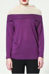 Fashion Turtleneck Hit Color Sweater -