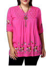 Plus Size V Neck Floral Embroidered Blouse