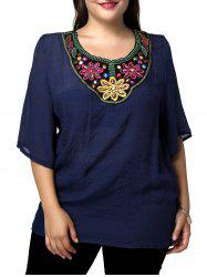 Casual Plus Size Flower Embroidered Spliced Women's Blouse - PURPLISH BLUE
