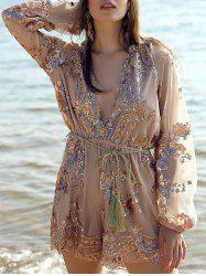 Plunging Neck Long Sleeve Sequins Romper -