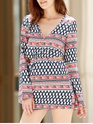 Plunging Neck Print Long Sleeve Dress -