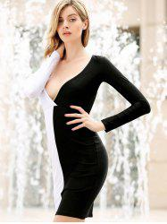 Manches longues Plongeant Breast Neck Off Stitching évider Backless Packet Fesses femmes s 'Cut Out Dress  - NOIR OU BLANC