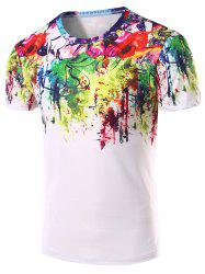 3D Abstract Printed Round Neck Short Sleeve T-Shirt For Men - COLORMIX