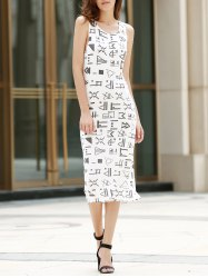 Midi Geometric Hollow Out Tank Dress