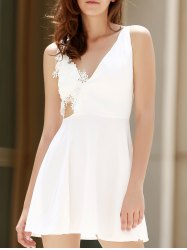 Alluring Sleeveless Plunging Neck Backless Solid Color Women's Dress -