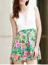 Sexy Sleeveless Plunging Neck Spliced Printed Women's Dress -