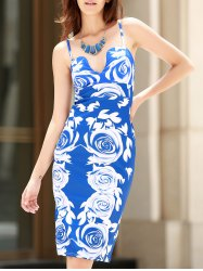 Sexy Spaghetti Strap Sleeveless Floral Print Bodycon Women's Dress