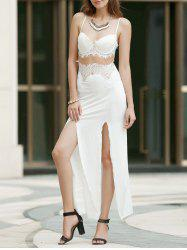 Sexy Style Spaghetti Strap Openwork Lace Splicing Slit Dress For Women