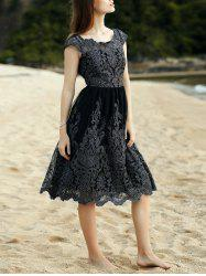 Midi Lace A Line Swing Dress - BLACK