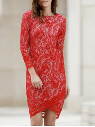 Lace Long Sleeve Asymmetric Fitted Sheath Dress -