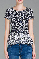 Short Sleeve Leaf Print Peplum Top
