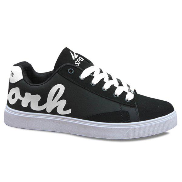 Online Trendy Lace-Up and Letter Pattern Design Casual Shoes For Men