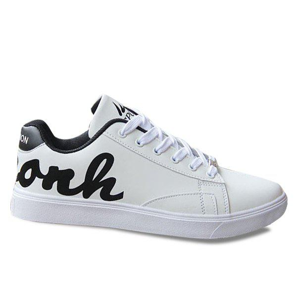 Fancy Trendy Lace-Up and Letter Pattern Design Casual Shoes For Men