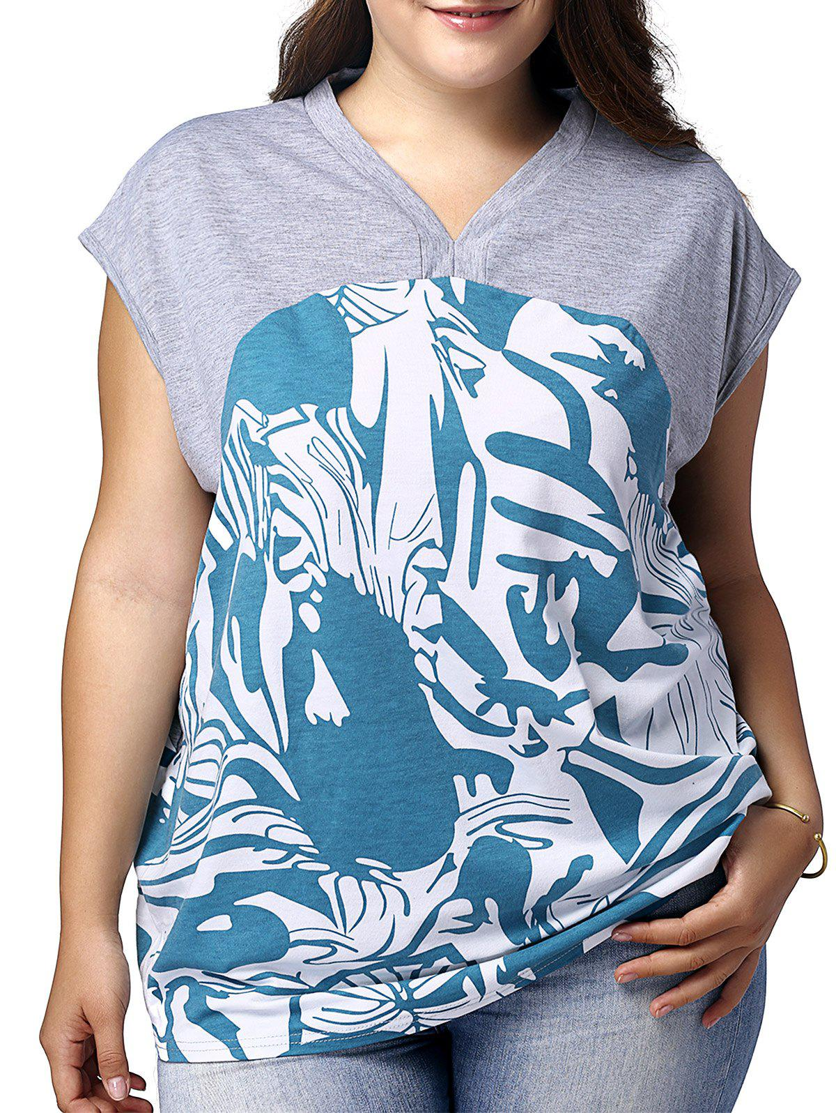 Hot Plus Size Graphic V Neck T-shirt