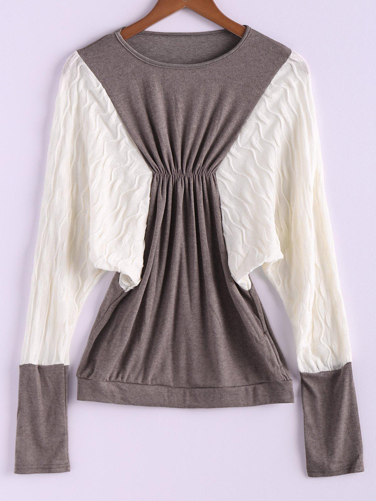 Trendy Plus Size Color Matching Batwing Long Sleeve Women's Sweater Dresses