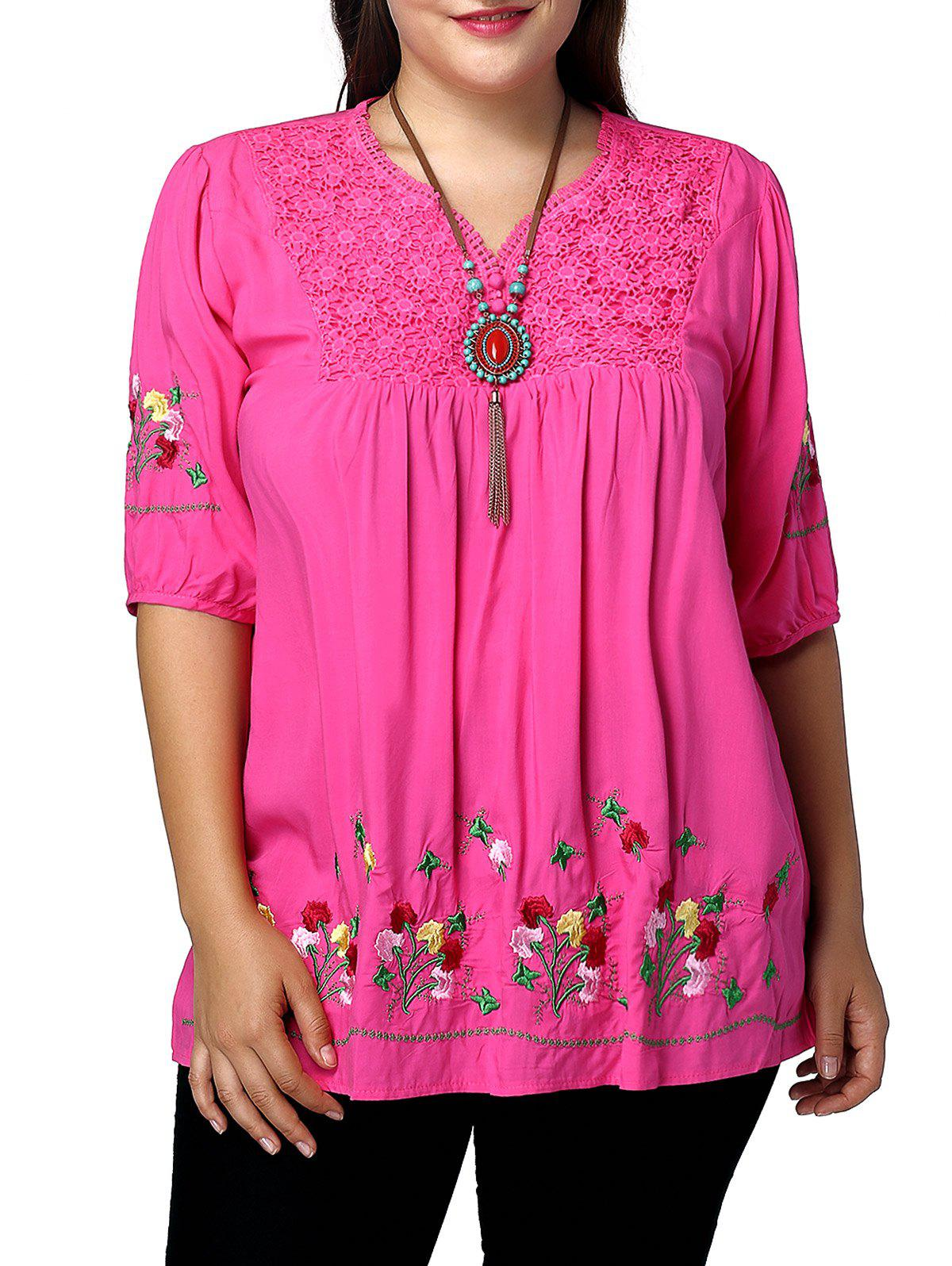 Outfits Plus Size Floral Mexican Embroidered Blouse