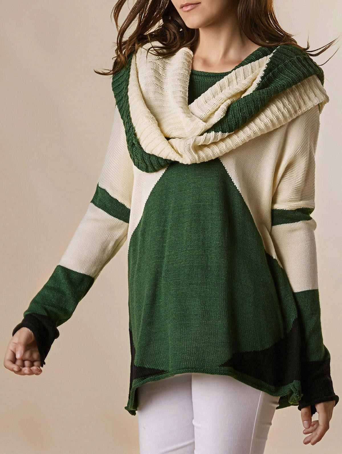 Fancy Trendy Style Scoop Collar Long Sleeve Color Block with Scarf Women's Sweater