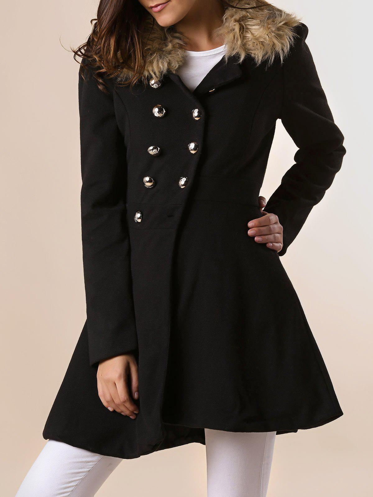 Outfits Women Woolen Winter Trench Double Button Coat