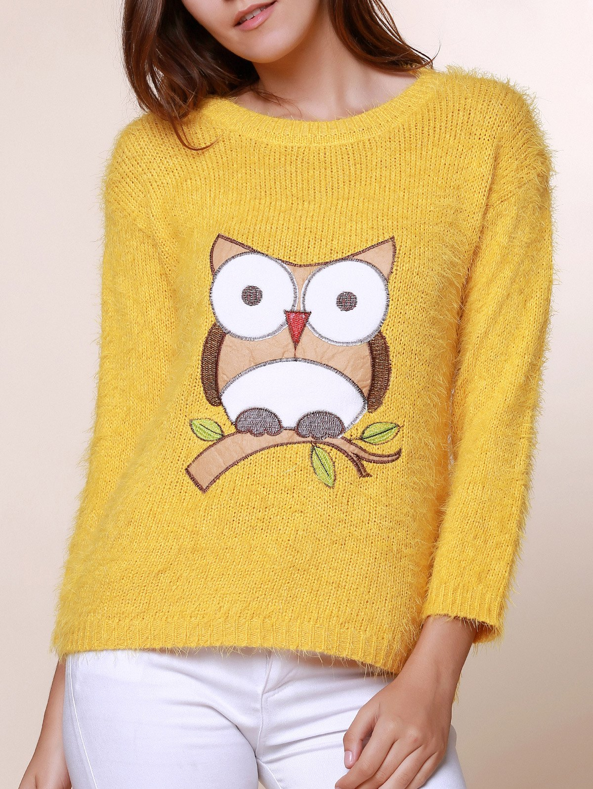 New Cute Round Neck Owl Pattern Mohair Long Sleeve Sweater For Women