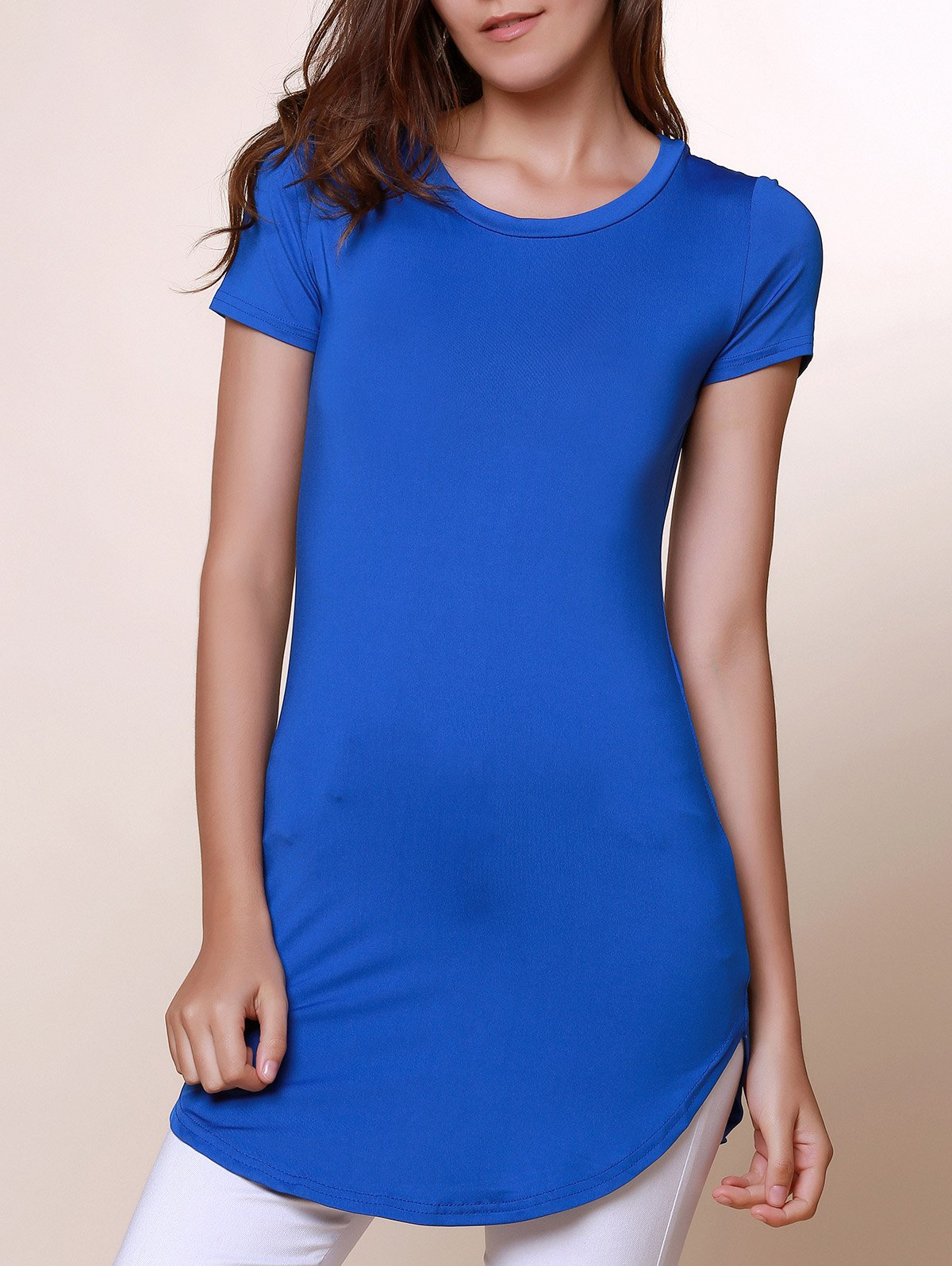 Round Neck Short Sleeve Solid Color Asymmetrical T Shirt 134136602