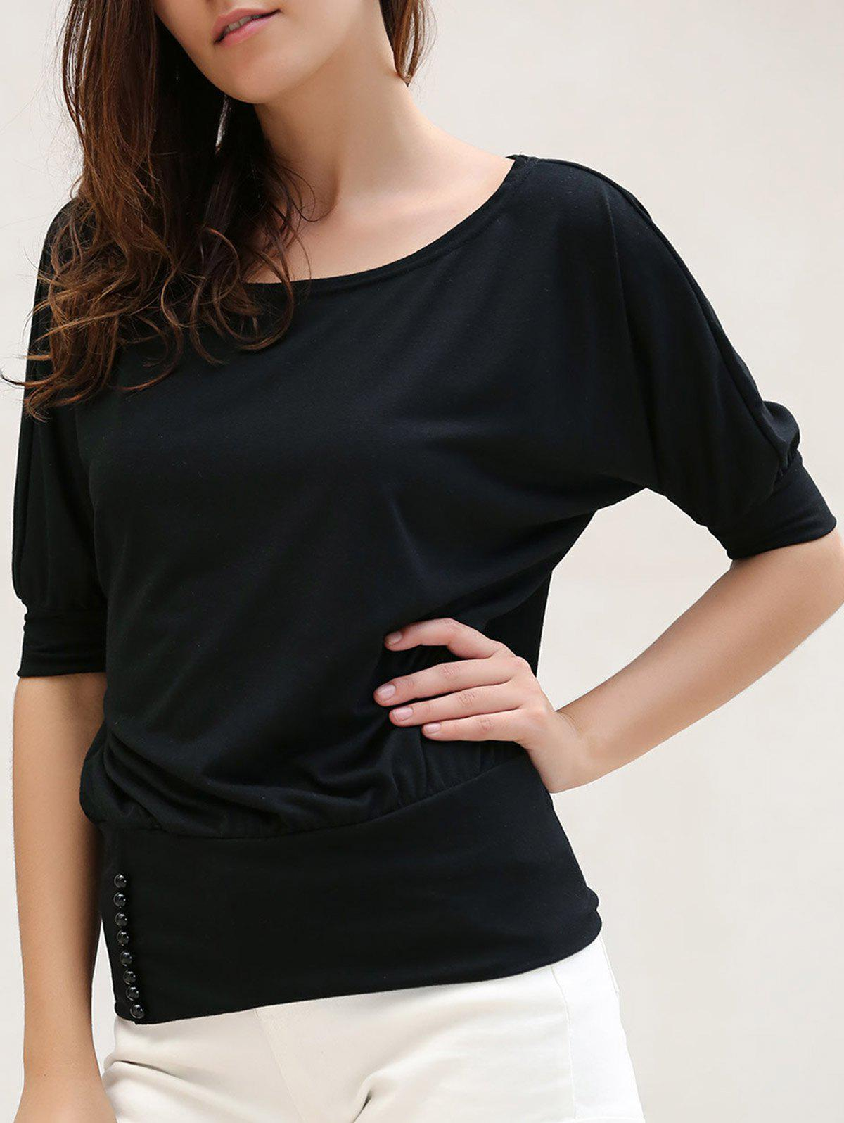 Discount Casual Scoop Neck Half Sleeves Solid Color Single Breasted T-Shirt For Women