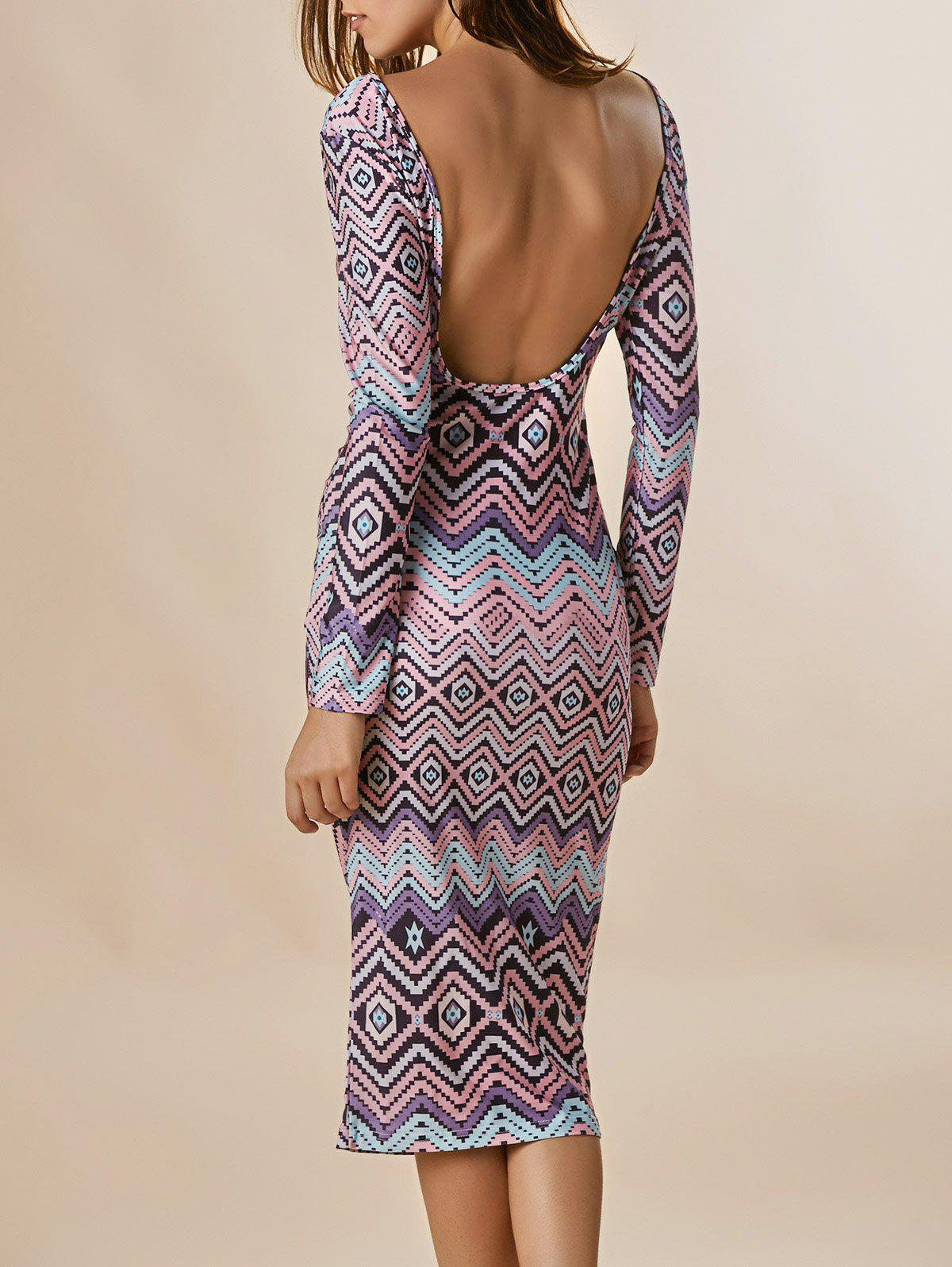 Fashion Long Sleeve Backless Zigzag Midi Club Dress