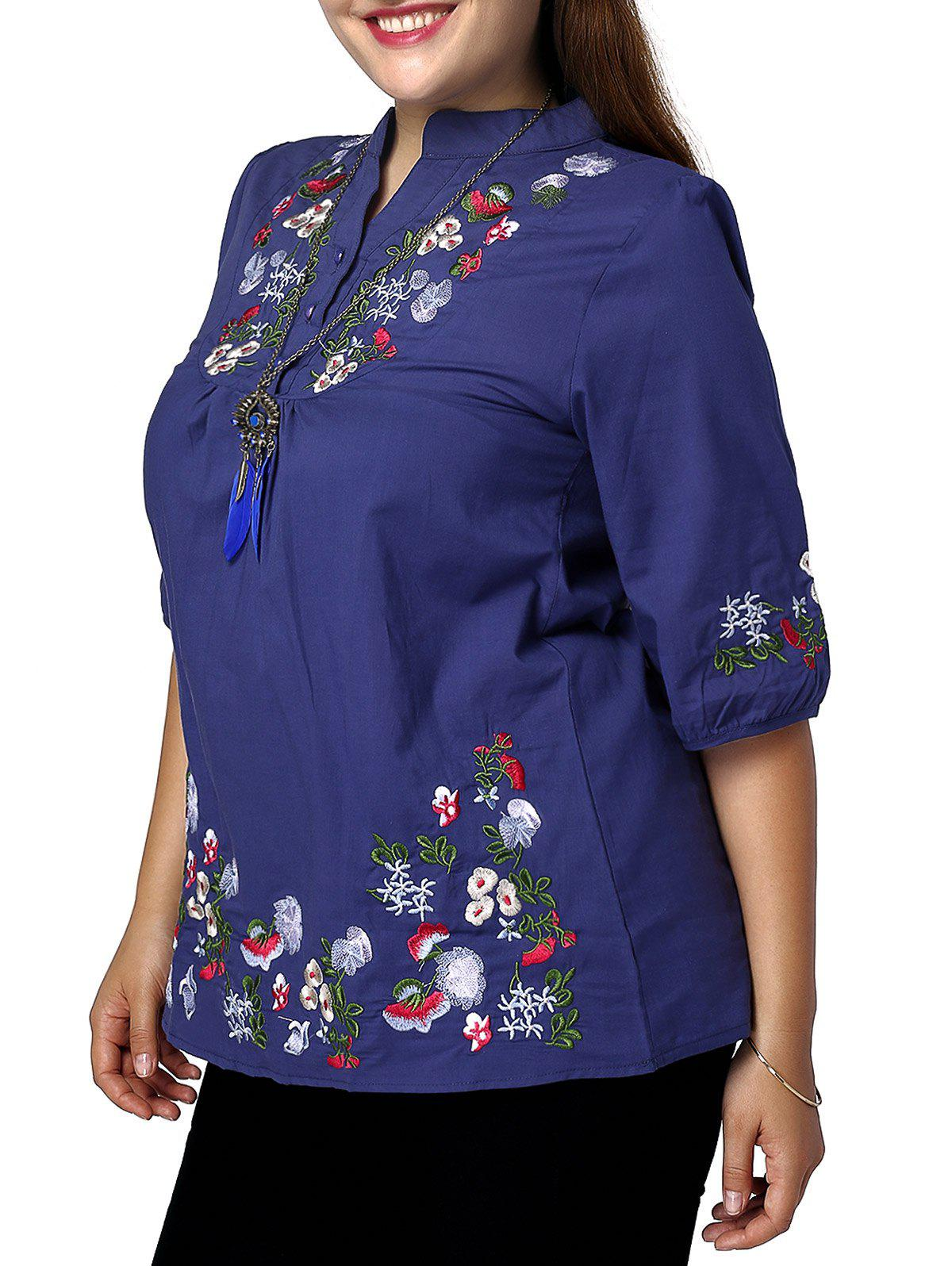 Sale Ethnic Plus Size Stand Collar Floral Embroidered Women's Blouse
