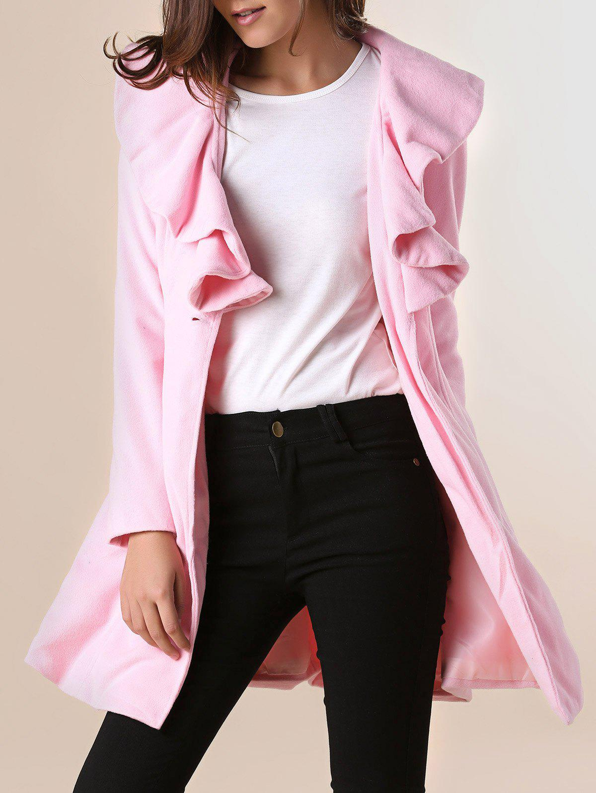Unique Long Sleeves Ruffles Lapel Beam Waist Long Sections Stylish Women's Trench Coat