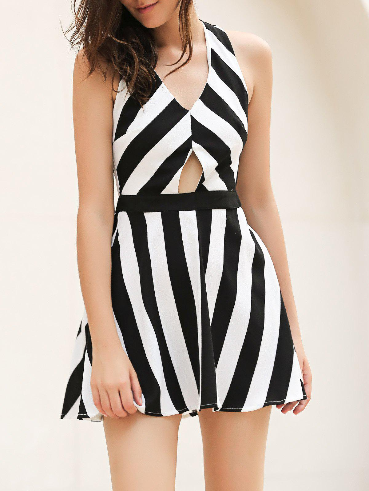 Discount Vintage Striped Hollow Out Mini Dress