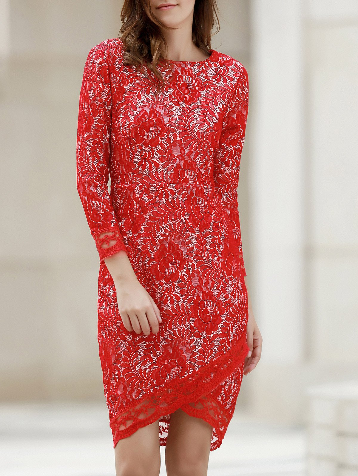 Chic Lace Long Sleeve Asymmetric Fitted Sheath Dress