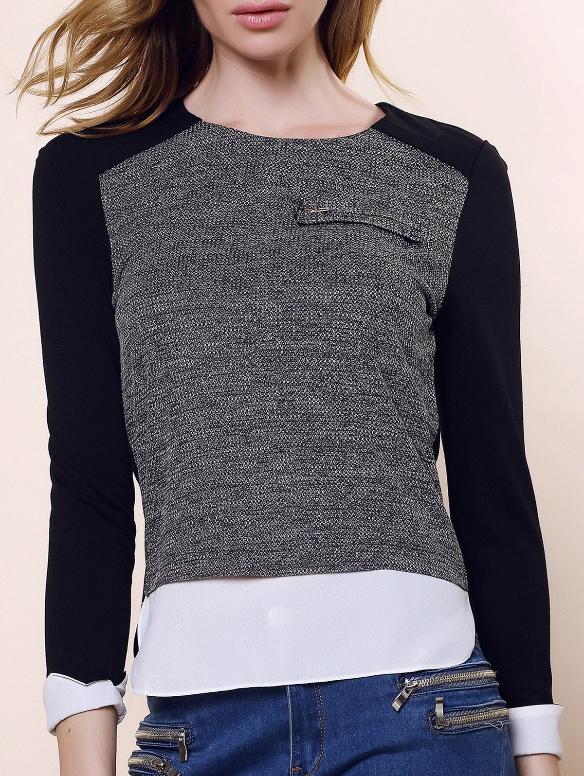 Vintage Round Collar Three Colors Matching Long Sleeves Womnes BlouseWOMEN<br><br>Size: L; Color: BLACK AND GREY; Style: Vintage; Material: Polyester; Shirt Length: Regular; Sleeve Length: Full; Collar: Round Neck; Pattern Type: Patchwork; Embellishment: Zippers; Weight: 0.550kg; Package Contents: 1 ? Blouse;