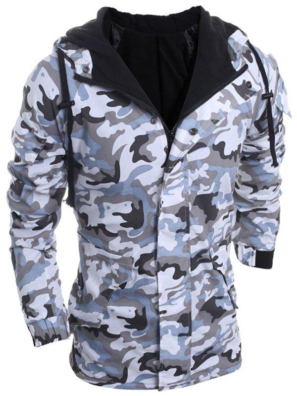 Outfit Modish Loose Fit Hooded Multi-Pocket Camo Pattern Long Sleeve Thicken Cotton Blend Coat For Men